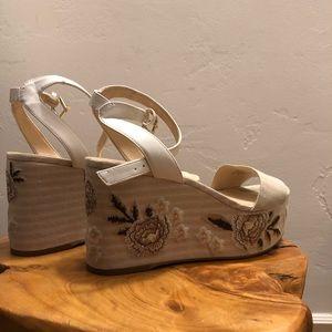 Nine West Embroidered Platform Sandals